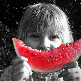 Cool Baby by Reg Barker - Babies & Children Child Portraits ( refreshing, fruit, food, summer, water melon )