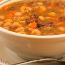 Garbanzo and White Bean Soup Recipe with Lamb and Rosemary