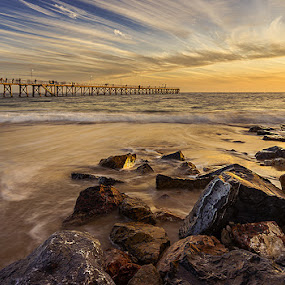 Stones, sea and jetty by Zdenka Rosecka - Landscapes Waterscapes