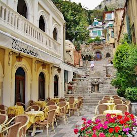 SICILIAN RESTAURANTS by Wojtylak Maria - City,  Street & Park  Street Scenes ( street, restaurant, sicily, city )