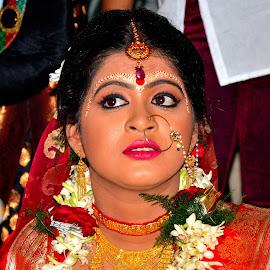 Lost in Happiness II by Saikat Kundu - Wedding Bride ( wedding, beautiful, indian, candid, gold, bengali, saikat kundu, marriage, bride, garland, close up, eyes,  )