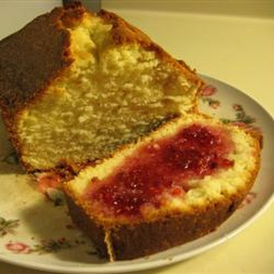 Old Fashioned Pound Cake with Raspberry Sauce