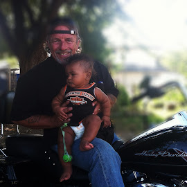 Papa's two loves by Lettie Maciel - Instagram & Mobile iPhone ( love, harley davidson, happy, baby, grandson )