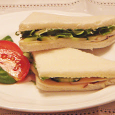 Turkey, cucumber and watercress sprouts afternoon tea sandwiches