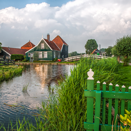 Zaanse Schans... the old Dutch farmhouse... by Anneke Reiss - Buildings & Architecture Public & Historical ( water, farm, zaanstreek, zaanse schans, green, holland, dutch, house )