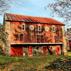 Old Barn by Tina Wiley - Buildings & Architecture Other Interior ( countryside, rock wall, orange, old, building, painted, pennsylvania, architecture, rustic, farming, historic, country, farm, red, barn, barns )