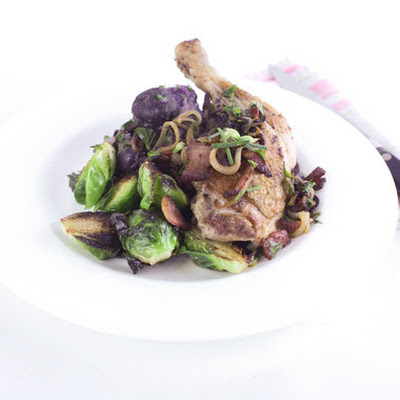 Chicken Thigh with Purple Smashed Potatoes and Brussels Sprouts