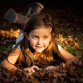 Jaimee by Linda Stander - Babies & Children Children Candids ( child, leaves, portrait )
