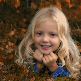 Autumn princess 1 by Kelly Murdoch - Babies & Children Child Portraits ( orange, pose, blonde, model, red, girl, grass, autumn, female, leaves, ztam )