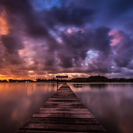 Lonely by Eric Tai - Landscapes Sunsets & Sunrises ( clouds, sunset, landscape, longexposure, river,  )