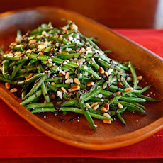 Green Beans with Balsamic Date Reduction, Feta and Pine Nuts