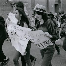 Marchers by Andrew Rock - News & Events Politics ( sign, canon eos 1n, australia, protest, kodak tri-x 400,  )