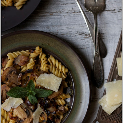 Fusilli with Pancetta and Cremini Mushrooms with Fresh Mint