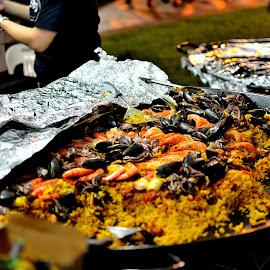 Paella by Meidy Huang - Food & Drink Eating ( #mussels, #paella #seafood #dinner #prawn #food )