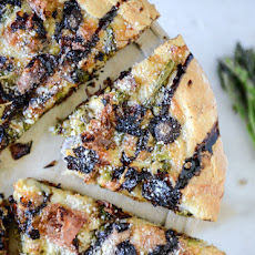 Springtime Mushroom, Asparagus + Prosciutto Pizza with Balsamic Glaze