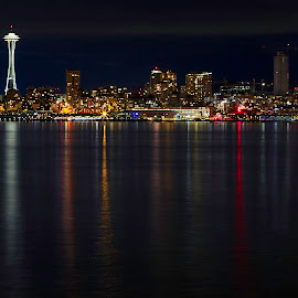 Seattle City Lights by Candee Watson - City,  Street & Park  Skylines ( water, night photography, seattle, reflections, spaceneedle, city )