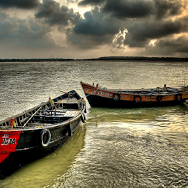 by Ravi Kashyap - Transportation Boats ( boats, sea, sunrise )
