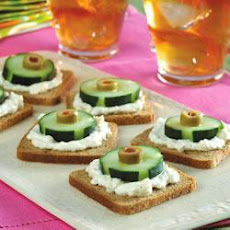 Cucumber, Olive and Rye Canapes