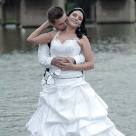 Kiss on the river by Lodewyk W Goosen-Photography - Wedding Bride & Groom ( love, kiss, kissing, forever, wedding, marriage )