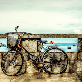 Resting  by Hoài Quốc - Transportation Bicycles ( bicycles, lifestyle, street, seascape, street scene, transportation, landscape )