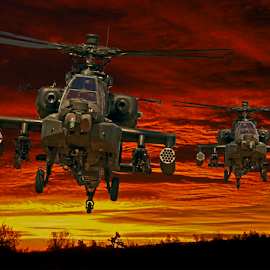 Dawn Assault by Dave Borrill - Digital Art Things ( wall art, aviation prints, sunset, military art, sunrise, military )