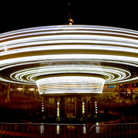 Merry Go Round by Roy Walter - City,  Street & Park  Amusement Parks ( lights, merry go round, park, amusement park, night, county fair )