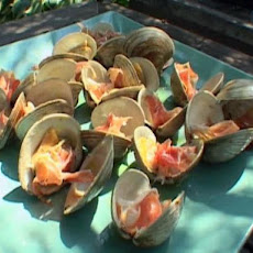 Grilled Clams on the Half Shell with Serrano Ham