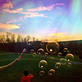 by Ryan Carter - People Family ( sunset, bubbles, mother and son )
