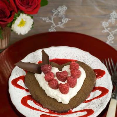 Gluten Free Chocolate Pavlova Hearts w/ Raspberries