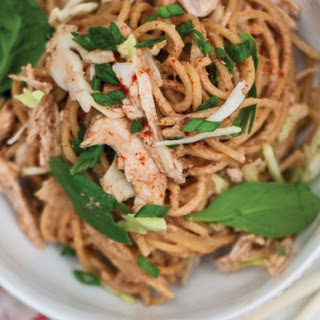 Warm Almond Butter Sauce Noodles with Chicken