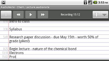 Screenshot of AudioNote