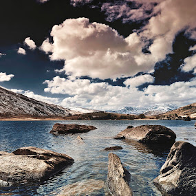 Blue Lake by Mike Shields - Landscapes Waterscapes ( water, mountains, blue, snow, lake, snowdonia, rocks )