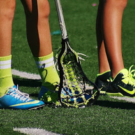 Colors of the Game by Alvin Simpson - Sports & Fitness Lacrosse ( shoes, girls, cleats, neon, green, sports, socks, sticks, turf, yellow, lacrosse,  )