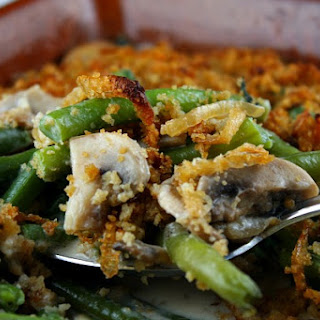 Fresh Green Bean Casserole w/ Caramelized Onion Breadcrumbs