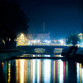 Night before Christmas by Eugen Muresan - City,  Street & Park  Street Scenes ( mirror, water, lights, night photography, beautiful, bridge, nightscape, city )