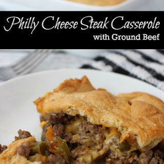 Philly Cheese Steak Casserole with Ground Beef