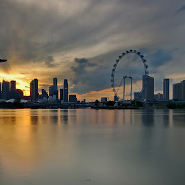 Singapore Skyline in the evening by Ken Goh - City,  Street & Park  Skylines