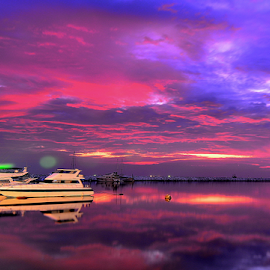 Crimson Sky by Joey Tomas - Transportation Boats ( clouds, seascapes, boats, nightscapes )