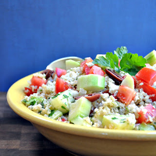 Tabouli Salad with Cucumber, Tomato, Feta, and Olives