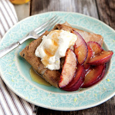Buckwheat Crepes with Honeyed Ricotta and Sautéed Plums