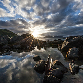 Clouds and sundown by Benny Høynes - Landscapes Cloud Formations ( clouds, sunset, sea, rocks, sun, norway )