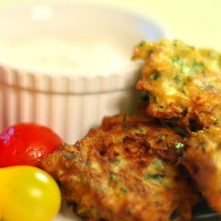 Zucchini Fritters & Goat Cheese Sauce