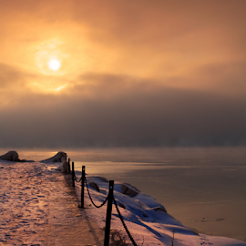 Hold My Hand. by Sushmita Sadhukhan - Landscapes Sunsets & Sunrises ( sunset sunrise cold winter snow beach chain )
