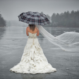 Waiting.. by Laury Banboukian - Wedding Other ( ice, waiting, lake, frozen, bride,  )