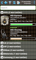 Screenshot of My Warranties Lite