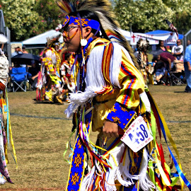 Native American  dancing   by Jo Gonzalez - News & Events Entertainment ( dancing, colorful clothes, people, man, native american )