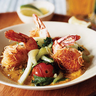 Coconut-Crusted Shrimp with Peanut Butter Curry Sauce