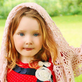 Knit Sweater on the Swing by Cheryl Korotky - Babies & Children Child Portraits ( sweater, red hair, a heartbeat in time photography, amazing faces, blue eyes, beautiful children, child model nevaeh, swing, knit shawl, portrait, red head )