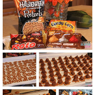 Hershey's Pretzel Chocoloate Halloween Treats Recipe! Nut Free Halloween Treats For Your Halloween Party!