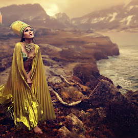 Cast Away by Allen Berame - Digital Art People ( fashion, queen, photography, girl, kingdom, sunset, lady, castle, scenery, fashion photography, gold, golden, river )